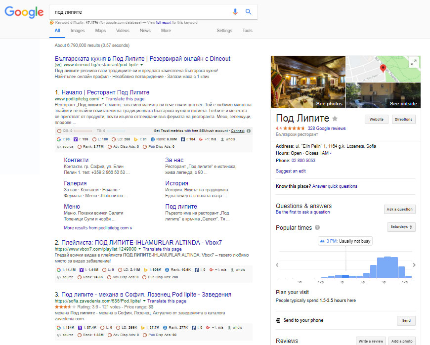 Local seo services business listings in google search results by name