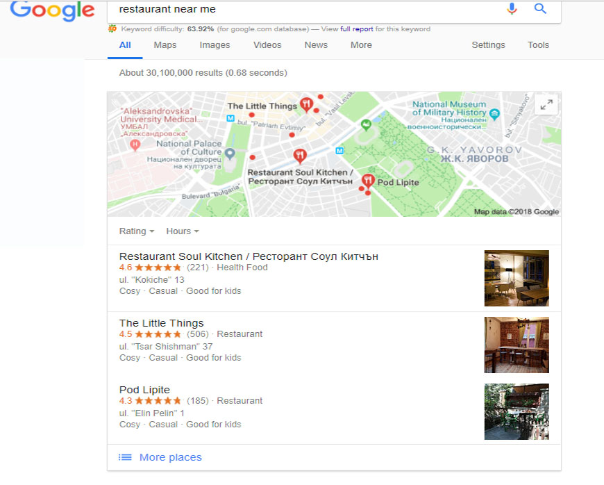 Local seo services business listings in google search results